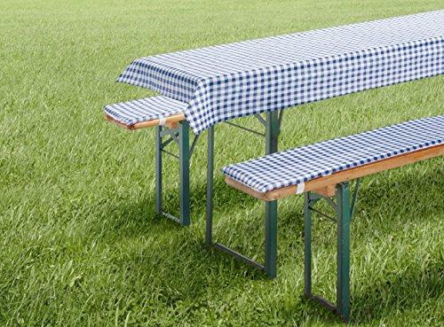 Auflagen-Set-fr-Bierzeltgarnitur-Biergarniturauflage-3-teilig-Vichy-Karo-blau-kurz-fr-Tischma-50x110-cm-und-70x110-cm-Tischdecke-und-Bierbankauflage-Polster-Bierbank-Kissen-Garten-Typ331