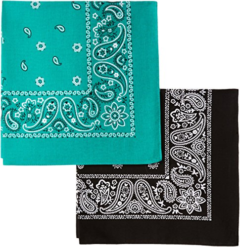Levi's Men's 2 Pack Printed Bandanas, Black/Green, One Size