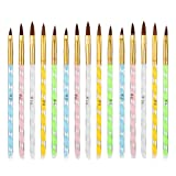BKpearl 15 Pcs Acrylic Nail Brush, UV Gel Nail Painting Brush Nail Art Tips Builder Brush Set