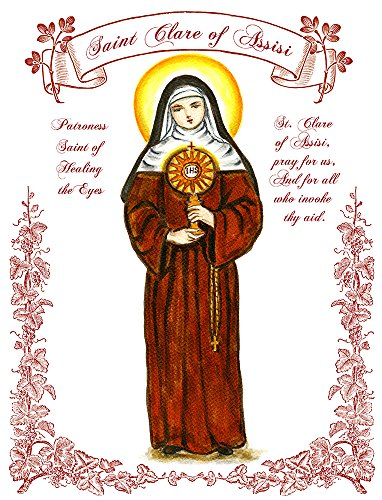 """11"""" X 14"""" St Clare Of Assisi, Patroness Saint Of Healing The Eyes Art Print front-307341"""