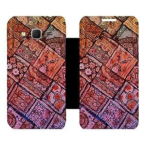 Skintice Designer Flip Cover with Vinyl wrap-around for Samsung Galaxy Core Prime G360 , Design - rajasthni pattern