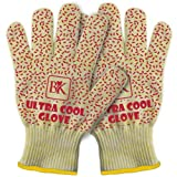 Ultra Cool Oven & Barbecue Grilling Gloves - Set of 2 Large Size - Heat Resistant up to 662 ºF - Oven Gloves with 5 Fingers Are Much More Versatile Than Mitts and Pot Holders. Silicone Outer Layer Provides Incredible Grip. Perfect for Cooking, Grilling BBQ and Microwave