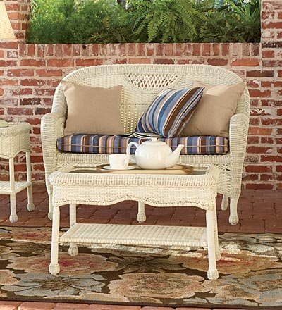 Prospect Hill Weather-Resistant Outdoor Resin Wicker Coffee Table with Powder-Coated Aluminum Frame, in Light Brown