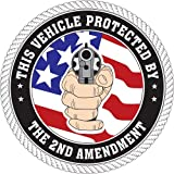 This Vehicle Protected by the 2nd Amendment with Flag; Round Bumper Sticker