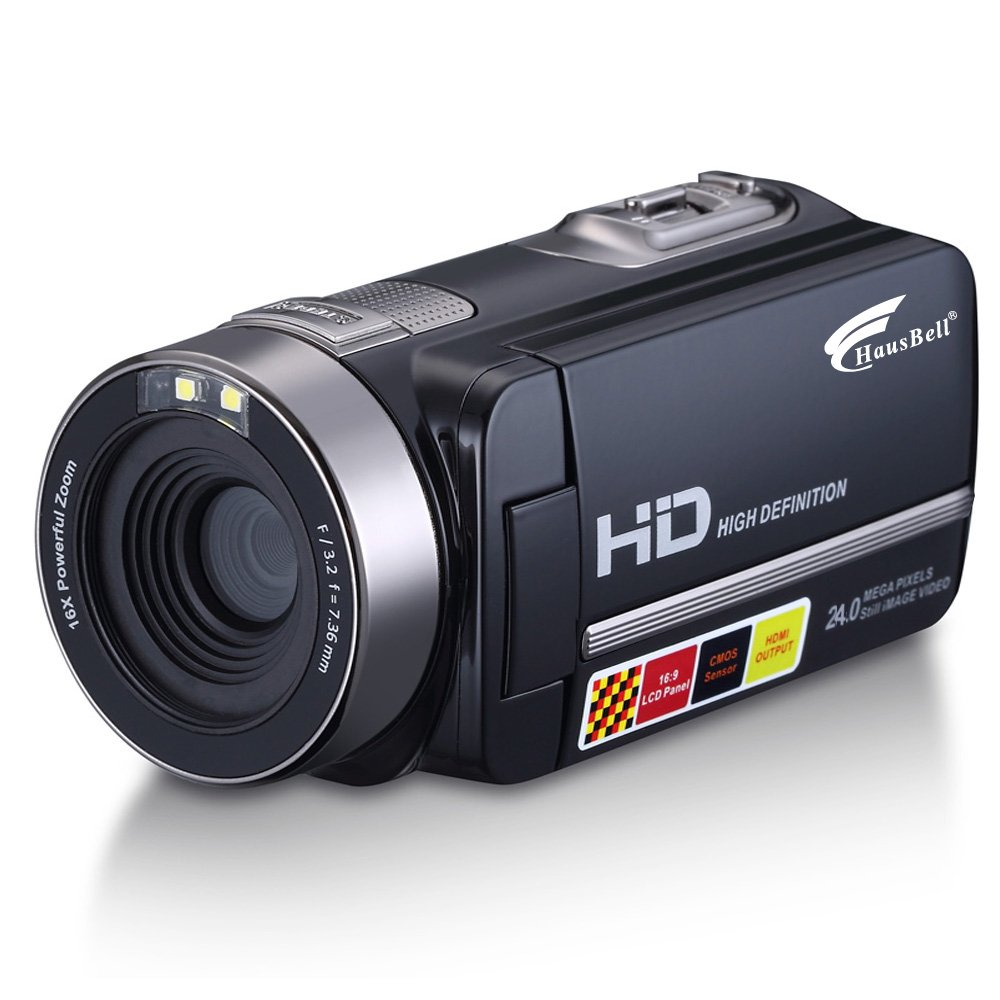 "Hausbell HDBV-301 Full HD Digital Video Camera Camcorder 1920 X 1080P with 3.0"" TFT LCD, 16 X Digital Active Zoom, 32 GB Memory Cards, Black"