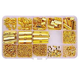 144 Pcs Ribbon Clamp 8mm 10mm 16mm 20mm 25mm 30mm 35mm and 72 Pcs Lobster clasps 12mm 230 Pcs jump rings 5mm 72pcs chain extension 100 Pcs Alloy Drop End for Jewelry findings (GOLD PLATED)