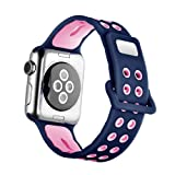 HandyGear Sport Band for Apple Watch, Soft Silicone Stripes Sports Replacement Band Strap for Apple Watch Series 1 Series 2 Series 3 (38mm Ocean Blue/Pink) (Color: 38mm Ocean Blue/Pink)