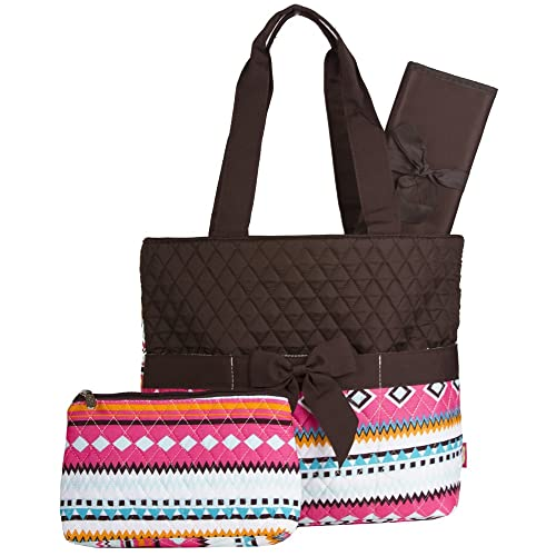 Brown Pastel Aztec Quilted Diaper Bag with Changing Pad and Accessory Case - 3 Pieces
