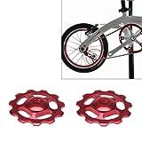 EDTara Aluminum 11T Sealed Bearing Derailleur Jockey Wheel Guide Pulley for MTB Road Bike (Color: Red)