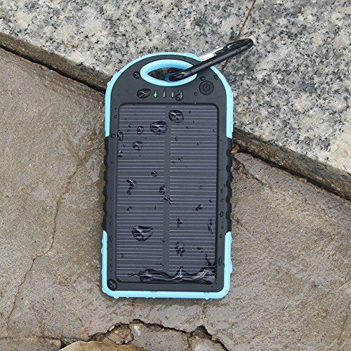5000mAh Solar Battery Panel Dual USB Port Rain-resistant, Dirtproof and Shockproof Portable Charger Backup External Battery Pack Power Bank for iPhone 5S, 5C, 5, iPhone 4S, 4,iPad Air, Mini (Apple Adapters not Included) Samsung Galaxy S5, S4, S3, S2, Note 3, Note 2, HTC New one, M7, Android Smartphone and Tablets, Window Phones and More Other Devices(Blue)