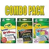 Crayola Large Dry Erase Crayons, 8 count and one Melissa & Doug Felt Chalk Eraser(98-5200) (combo pack)