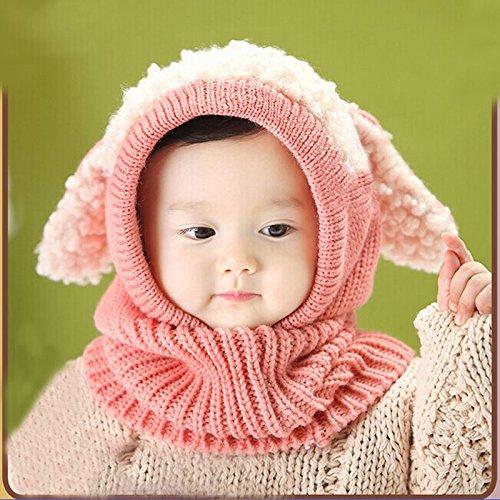 TAORE Baby Girls Boys Winter Hat Scarf Earflap Hood Scarves Skull Caps (Pink)