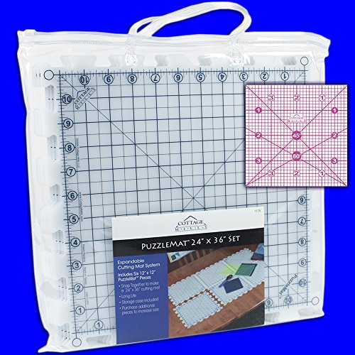"""PuzzleMat® 24"""" x 36"""" Rotary Cutting Mat Set from Cottage Mills - Includes 6 - 12"""" x 12"""" pieces and carrying case. Perfect for the quilter on the go! ++ Bonus FREE 4"""" x 4"""" acrylic ruler a $5.99 value ++"""