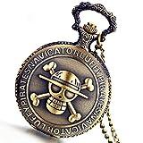 Lancardo Antique Bronze Anime Skull Quartz Pocket Watch Chain New with Gift Bag