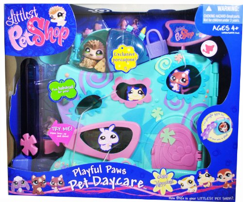 Buy Littlest Pet Shop Bobble Head Pet Figure Playset – PLAYFUL PAWS PET DAYCARE with Exclusive Porcupine (#485), Habitral Riding, Slide, Swinging Basket Plus Lots of Small Accessories