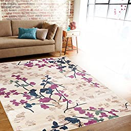 Contemporary Floral Cream Area Rug 5\'3\