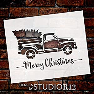 Little Red Truck with Merry Christmas Stencil by StudioR12 | for Painting Wood Signs | Vintage Script Lettering | Retro Holiday Home Decor | Rustic Old Fashioned Holiday : Choose Size (13 x 10) (Tamaño: 13 x 10)