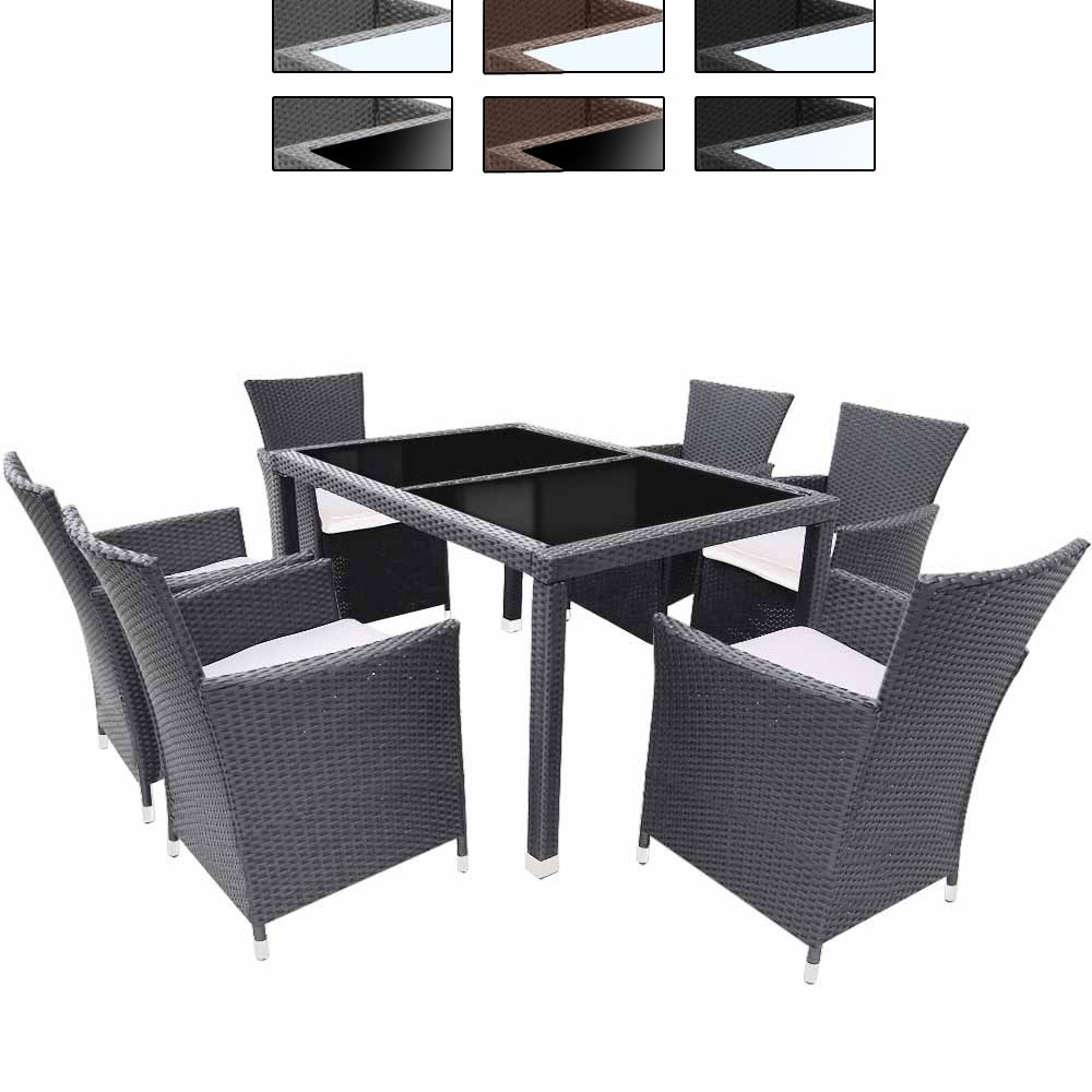 13-teilige Polyrattan Sitzgarnitur Terasse Gartenmöbel / Gartengarnitur inkl. Sitzkissen mit Farb- & Tischwahl online kaufen