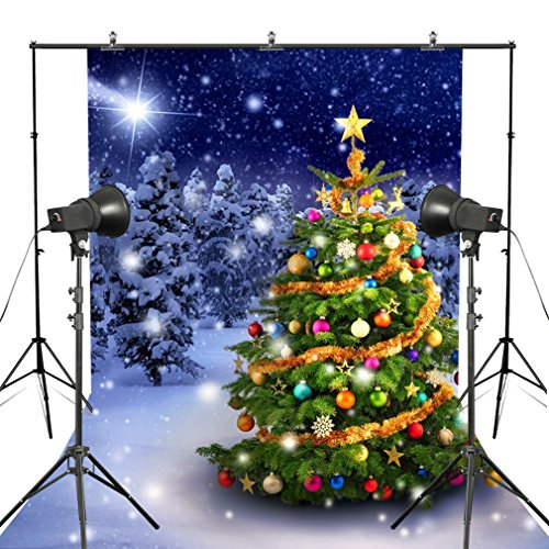 Fotoo 7x5ft Christmas Tree in the Snow Snowflakes Vinyl Photography Background Backdrop (Digital Backdrops For Photography compare prices)