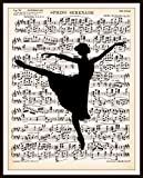 Vintage Art Print Wall Decor, Ballerina on Vintage Ephemera Sheet Music , 8.5 x 11, Reproducttion Unframed