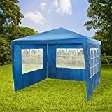 TecTake Gazebo for garden party camping festival beer tent marquee 3 x 3m - different colours - (Blue)