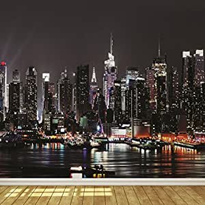 new york city skyline at night 6 wallpaper mural. Black Bedroom Furniture Sets. Home Design Ideas