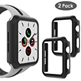 WD&CD (2 Pack) Case Compatible with Apple Watch Series 5 Series 4 44mm, Built-in Ultra Thin HD Tempered Glass Screen Protector Overall Protective Cover Replacement for iwatch Series 5/4, Black (Color: Black)