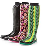 Packable Puddletons Women's Roll-Up Rain Boots, in Pink Floral, Size 9