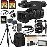 Panasonic HC-X1000 4K-60p/50p Camcorder with High-Powered 20x Optical Zoom and Professional Functions (Black) with Transcend 128 GB U3 SDXC + 64GB Card U3 + Polaroid Pro Video Microphone Set + VANGUARD Tripod with Pan Head + PRO LED Light + Deluxe Camera/Video Padded Backpack + Platinum Accessory Bundle