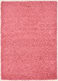 Soft Cozy Pink Color Solid Shag Rug 5X7 Contemporary Living and Bedroom Soft Shaggy Area Rug