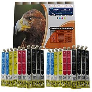 20 Druckerpatronen komp. für Epson T711 T712 T713 T714 8x schwarz 4x blau 4x rot 4x gelb