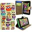 For Nokia Lumia 635 Printed Multi Birds Owls Style 3 Book Type PU Leather Magnetic Flip Case Cover Pouch+STYLUS BY CONTINENTAL27