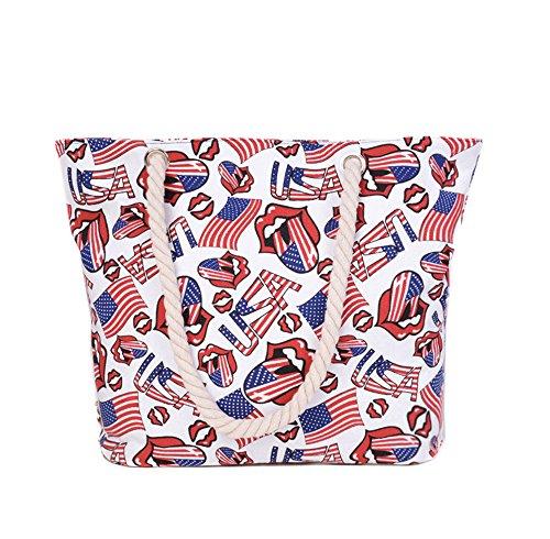 Wewod Fashion shopping shopper borsa a mano Trasparente in Bianco, Tela, White, 45cmx11.5cmx36.5cm