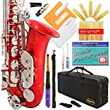 370-RD - Red/Silver Keys Eb E Flat Alto Saxophone Sax Lazarro+11 Reeds,Music Pocketbook,Case,Care Kit - 24 Colors with Silver or Gold Keys