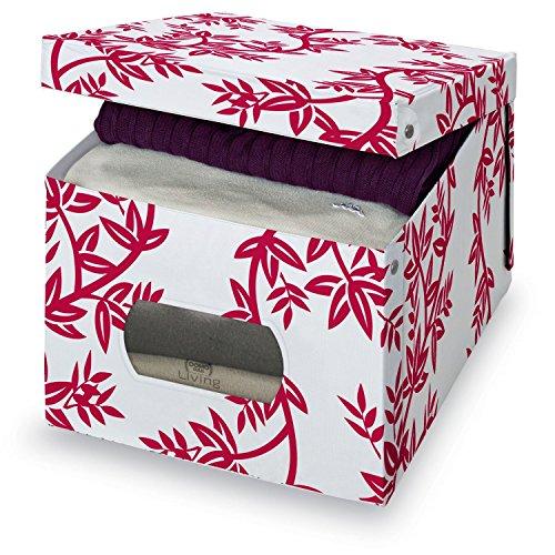 Living-Aufbewahrungsbox-fr-Bekleidung-42x50x31cm-wei-mit-roten-Blttern-916015