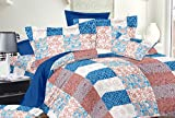 Trance Duvet Cover Queen Printed Multi Color Cheks with 2 pillow covers