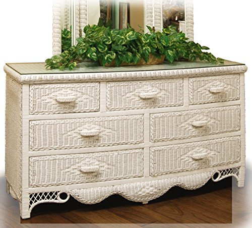 Regency White Wicker 7 Drawer Dresser with Glass Top