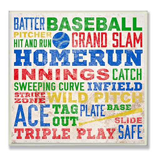 The Kids Room by Stupell Baseball Words Typography Square Wall Plaque