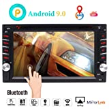 Android 9.0 Car Navigation Stereo with Bluetooth Double din Car Radio in Dash Car DVD Player 2 din GPS Sat System WiFi Mirrorlink Support USB SD 1080P Colorful Button Lights New UIs External Mic (Color: Android 9.0 car dvd unit)