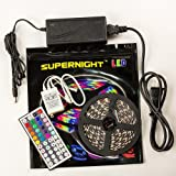 SUPERNIGHT 16.4ft 5M Non-waterproof Flexible Strip 300leds Color Changing RGB SMD3528 LED Light Strip Kit RGB 5M +44Key IR Remote Controller+12V 3A Power Supply