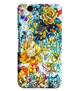 Blue Throat Floral Pattern Printed Designer Back Cover/Case For Huawei Google Nexus 6P