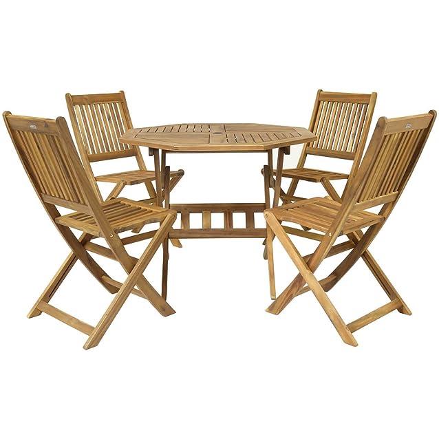 Bentley - Set da giardino - legno massiccio certificato FSC - tavolo ottagonale e 4 sedie - 5 pz.