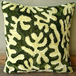 Coral Greens - Decorative Pillow Covers - Silk Pillow Cover with Satin Ribbon Embroidery