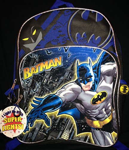 "Batman 16"" Backpack With Flashing Led Lights!"