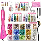 Hotfix Rhinestone Applicator Tool, Bedazzle Kit with Rhinestones, 30ss/20ss/16ss Hot Fix Wand Crystal Setter Kit, 15 Colors, 4 Tips, Manual, Tweezers, Jewel Picker, Stand, Brush, Tray, Zip Bag (Color: Rainbow)
