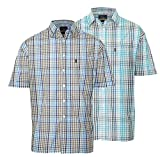 TWO PACK KELSO SHORT SLEEVE CHECKED SUMMER SHIRT (XL)