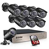 ZOSI 8-Channel 4-in-1 HD-TVI 1080N/720P Video Security System DVR recorder with 8x HD 1280TVL Indoor/Outdoor Weatherproof CCTV Cameras 1TB Hard Drive ,Motion Alert, Smartphone& PC Easy Remote Access (Color: 8CH+8Camera+1TB, Tamaño: DVR Recorder)