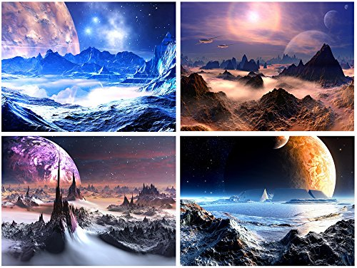 Pyradecor-Fantastic-Outer-Space-Modern-Abstract-Artwork-4-piece-Stretched-and-Framed-HD-Giclee-Canvas-Prints-Universal-Purple-Pictures-Paintings-on-Canvas-Wall-Art-for-Bedroom-Home-Decorations