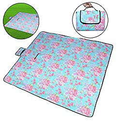 7Trees Foldable Dampproof Beach & Picnic Mat / Chatai - Pattern: Blue Flower