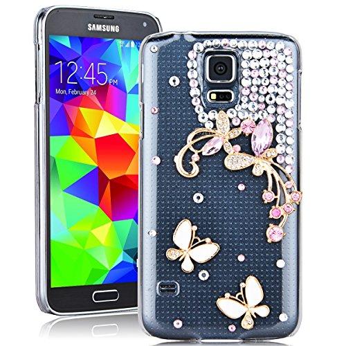 SMARTLEGEND Rigida Custodia per Samsung Galaxy S5, Bling Glitter Diamante PC Hard Case Cover Bumper, Ultra Sottile Trasparente Duro Durevole Protettiva Caso con Disegno Elegante - Farfalla Bianca